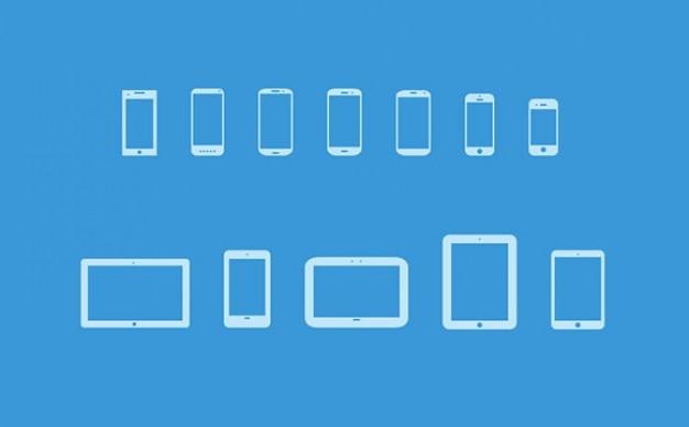 Beliebten mobilen geräten icon set