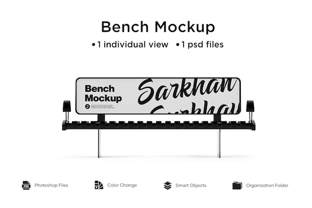 Bench advertising mockup isoliert