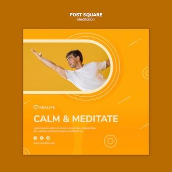 Beruhige und meditiere nach der quadratischen vorlage