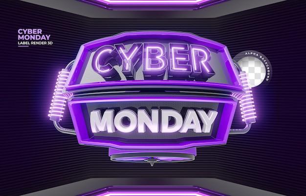 Beschriften sie cyber monday 3d-realistisches rendern für werbekampagnen und angebote