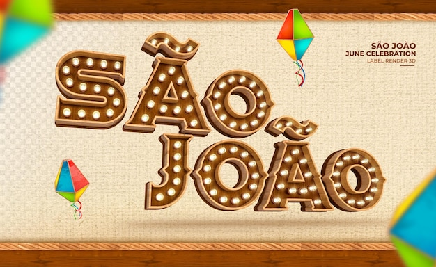 Beschriften sie sao joao festa junina in brasilien 3d rendern sie mit lichtern