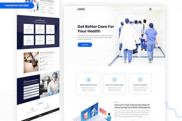 Bessere pflege für ihre gesundheit website-seitenvorlage