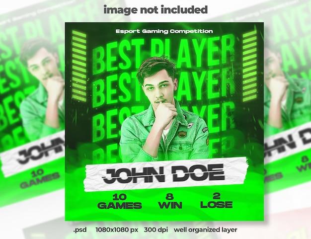 Beste e-sport-gaming-bannervorlage für soziale medien