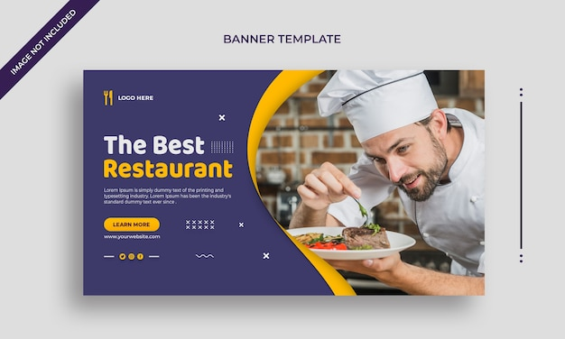 Bestes restaurant einfache horizontale web-banner oder social-media-post-vorlage