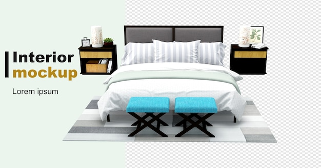 Bett- und schreibtischmodell im 3d-rendering