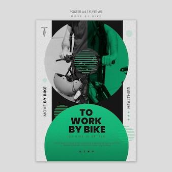 Bewegen sie sich durch fahrradplakatdesign