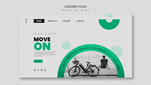 Bewegen sie sich mit dem fahrrad landing page design