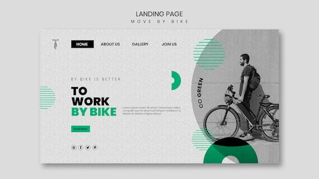Bewegen sie sich mit dem fahrrad landing page thema