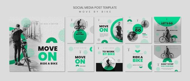 Bewegen sie sich mit dem fahrrad social media post