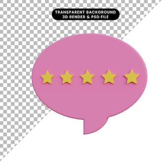Bewertung der chat-blase der 3d-illustration