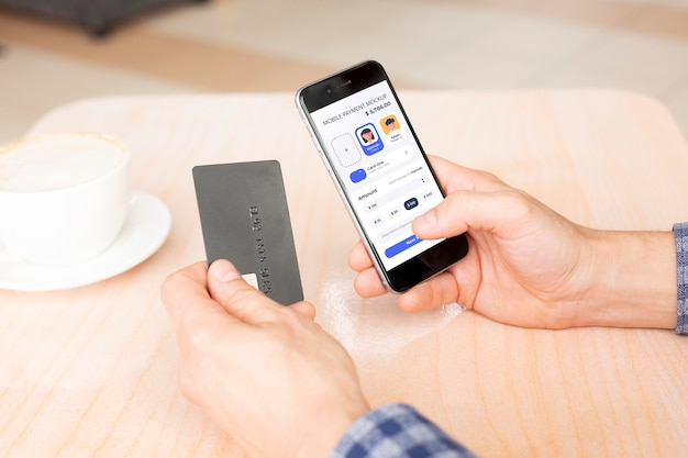 Bezahl-app auf smartphones zeigt mock-up an