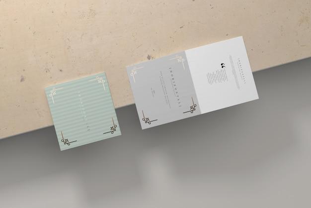 Bi-fold horizontal square brochure mockup