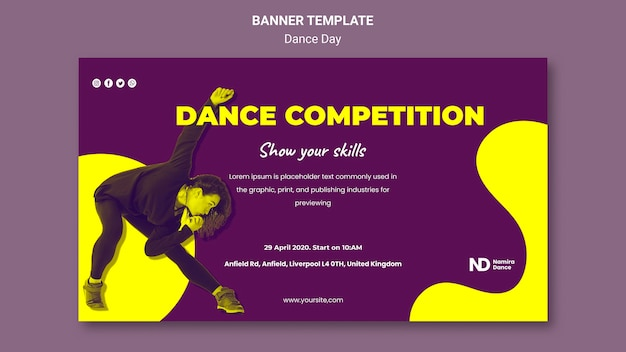 Bicolored dance day banner vorlage