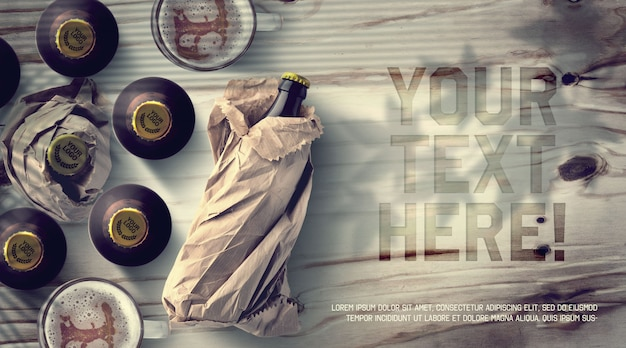 Bierflasche und kappenmodell