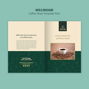 Bifold broschüre coffeeshop vorlage