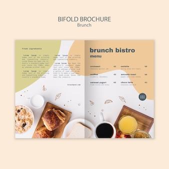 Bifold-broschüre für das brunch-bistro-menü