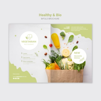 Bifold-broschüre für vegetarische restaurants