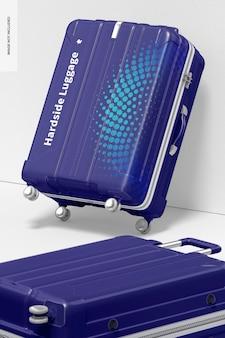 Big hardside luggage mockup, gebeugt