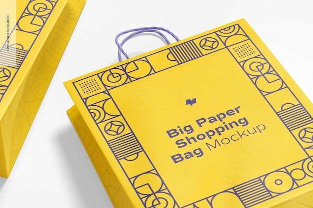 Big paper shopping bags mockup, nahaufnahme