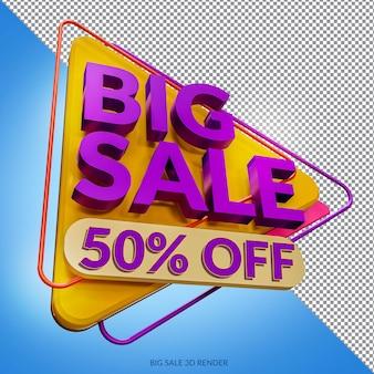 Big sale 50 prozent rabatt auf mockup 3d render