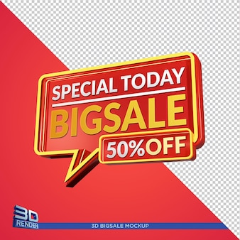 Big sale promotion 3d mockup design isoliert