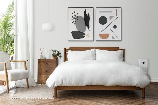 Bilderrahmen mockup psd in einem hellen und sauberen modernen schlafzimmer