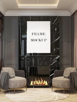 Bilderrahmen über kamin im 3d-rendering-modell des luxusinnenraums