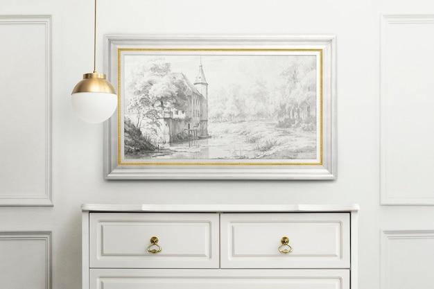 Bilderrahmenmodell, das im luxuriösen wohnzimmer-wohndekor-interieur hängt