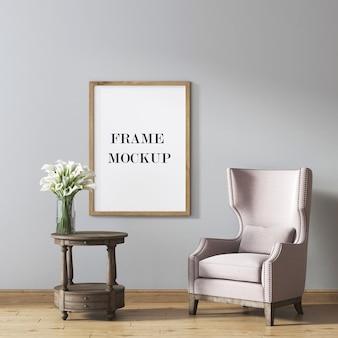 Bilderrahmenmodell mit vintage-möbeln im raum 3d-rendering