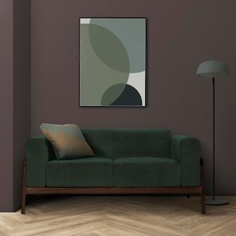 Bilderrahmenmodell psd hängt in einem modernen wohnzimmer