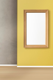 Bilderrahmenmodell psd hängt in einem retro-wohnzimmer