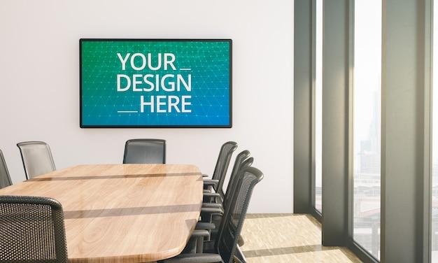 Bildschirmmodell im leeren konferenzraum