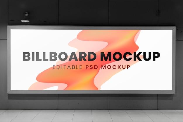 Billboard-modell, werbeschild psd an der wand