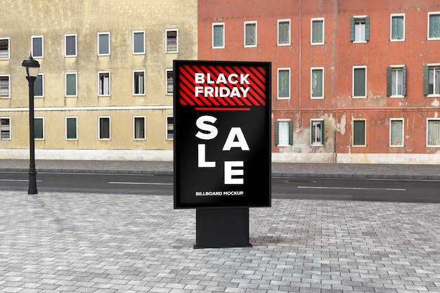 Billboard street sign mockup mit black friday sale banner