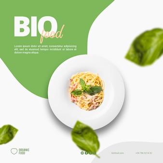 Bio-lebensmittel quadratische banner vorlage