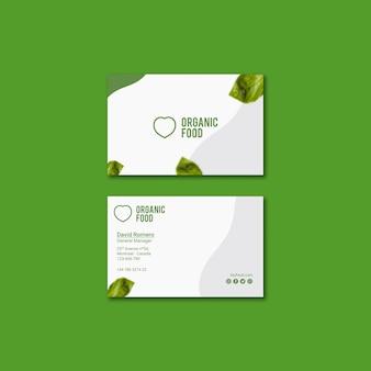 Bio-lebensmittel-visitenkartenvorlage