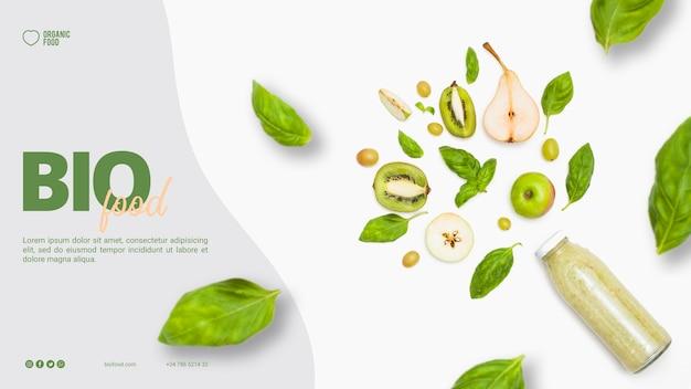 Biolebensmittel-fahnenschablone mit foto