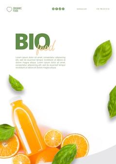 Biolebensmittel-flyer-vorlage mit foto