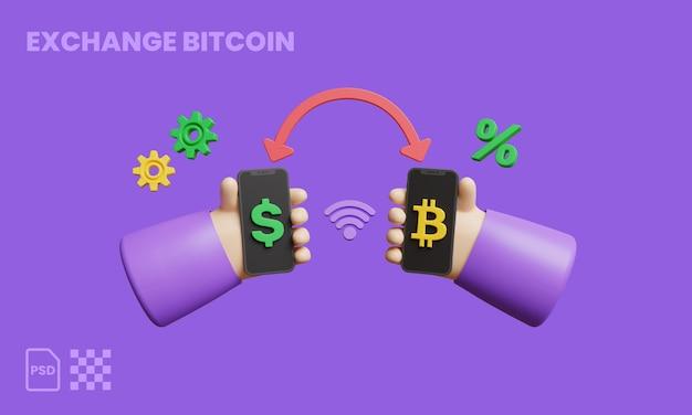 Bitcoin-dollar-austausch 3d-darstellung, die kryptowährung bezahlt und empfängt