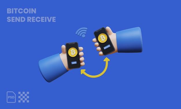 Bitcoin-transaktion 3d-darstellung, kryptowährung bezahlen und empfangen