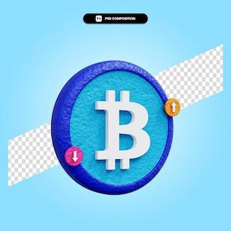 Bitcoin-zeichen 3d-render-illustration isoliert
