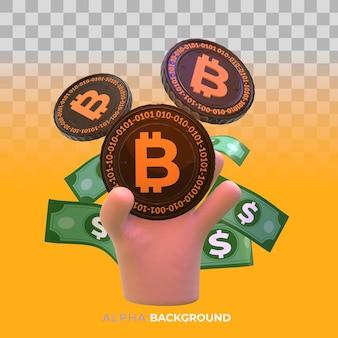 Bitcoins und neues virtuelles geldkonzept. 3d-darstellung