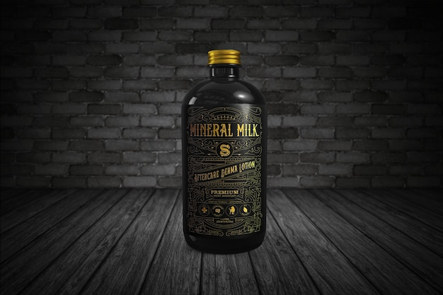Black amber bottle mockup