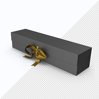 Black box mit goldband in 3d-rendering isoliert