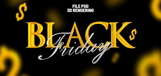 Black friday 3d-rendering-banner