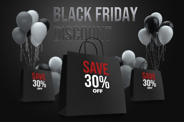 Black friday bag shopping mockup design