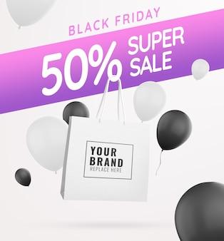 Black friday ballon und taschenmodell