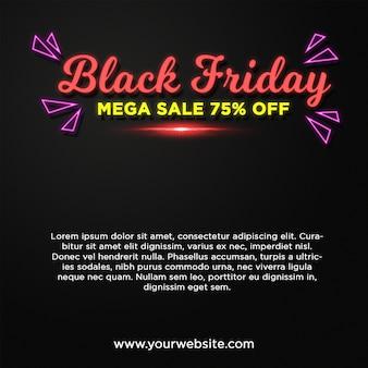 Black friday banner mega sale im neonstil-texteffekt