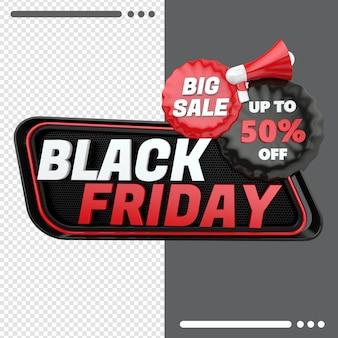 Black friday box mit rabatt in 3d-rendering