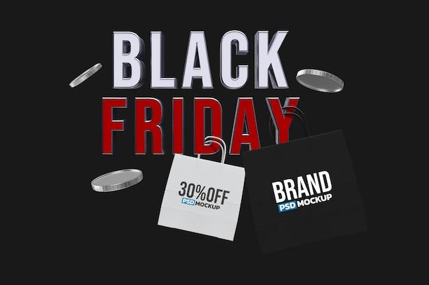 Black friday einkaufstasche mockup design